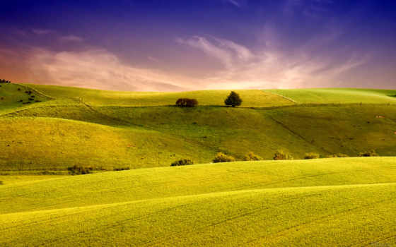 landscape, поле, небо