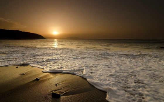 море, закат, landscape, камни, песок, природа, waves, девушка,