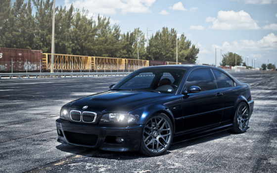 bmw, blue, dark, e46, вагоны, небо, oblaka,