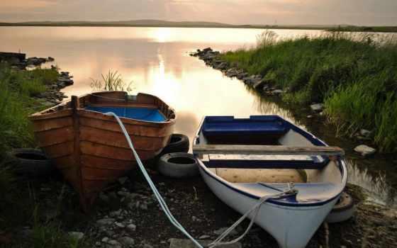 лодки, закат, озеро, вечер, oblaka, две,
