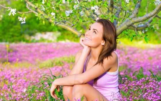 девушка, саду, женщина, стоковое, цветущем, деревом, счастливая, стоковых, изображений, под, мечтательная,