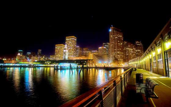 город, ночь, биг, огни, фон, панорама, usa, небо,