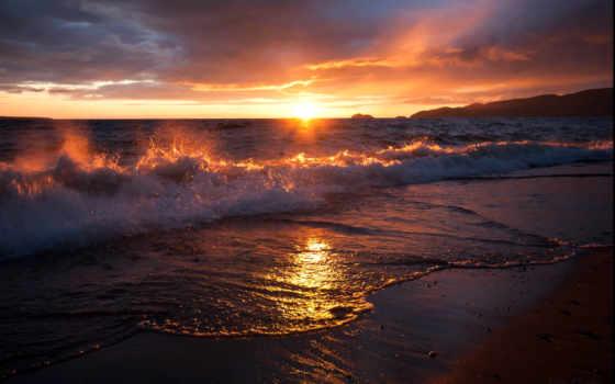 море, рассвет, песок, surf, закат, waves, sun, природа, oblaka, пляж, волна,