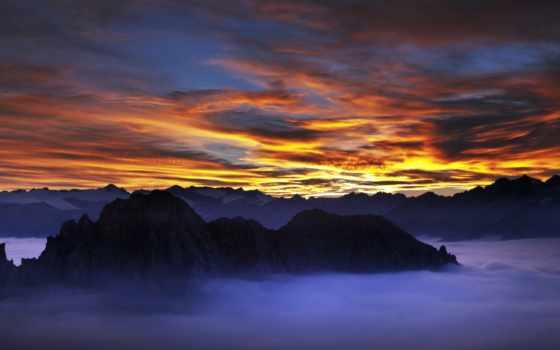 nevada, sierra, mountains, горы, landscape, три, peaks, небо, snowy,