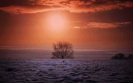 закат, картинка, mac, winter, поле, ecran, fond, небо, resolution