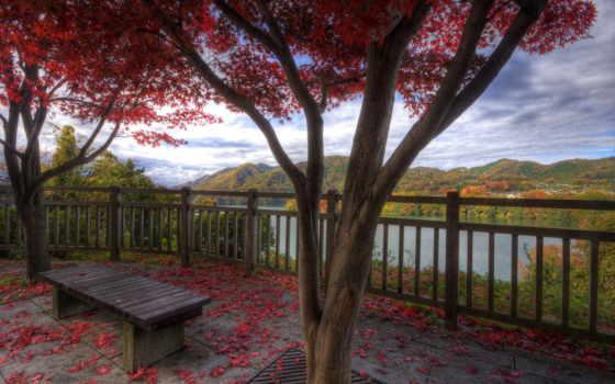 природа, спокойствие, горы, осень, красавица, листва, деревня, озера, harmony, скамейка, страница,