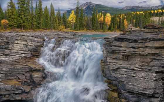 водопад, осень, река, jasper, горы, falls, pin, лес, id,