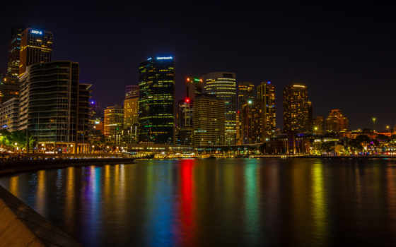 sydney, австралия, город, изображение, cities, ночь, noturna, вида,