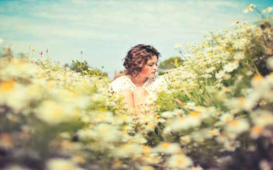 поле, девушка, ромашки, summer, настроение, sun, боя, ромашковом, art, сидит,