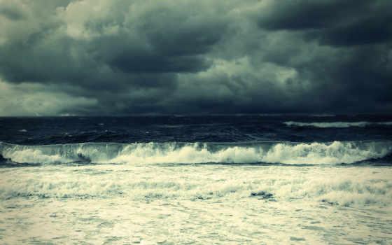 тучи, море, waves, буря, волна, surf, небо, пенка,