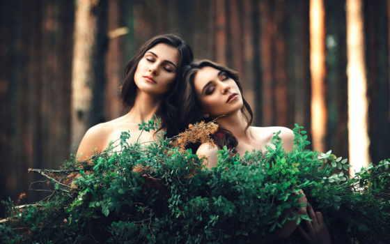 две, devushki, подруги, лесу, девушка, платье, girlfriend, веточки, комната,