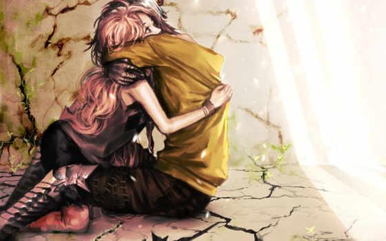 love, девушка, парень, anime, art, обьятия, pair, объятия, стены, genki, comics,