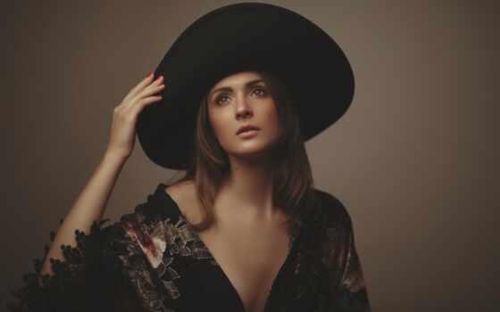 mac, девушка, рука, шляпа, mano, pantalla, fond, chica