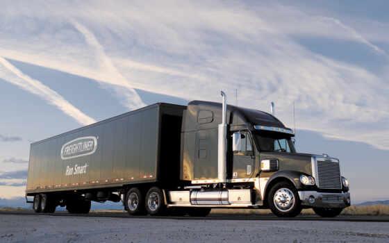 грузовик, прицепом, freightliner