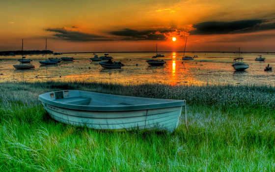 закат, лодки, лодка