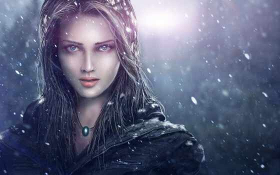 девушка, art, лицо, снег, кулон, zahid, раза, khan,