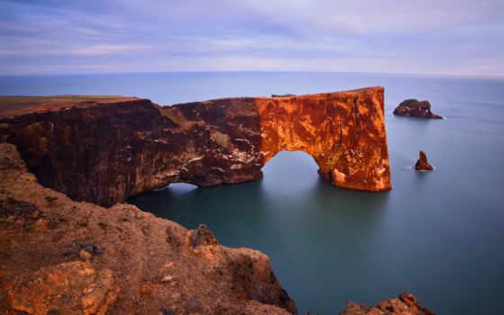iceland, ocean, cape, дирхолей, арка, dyrholaey, скалы,