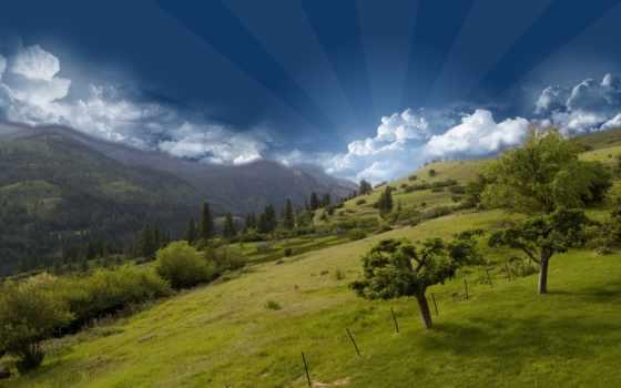 горы, природа, небо