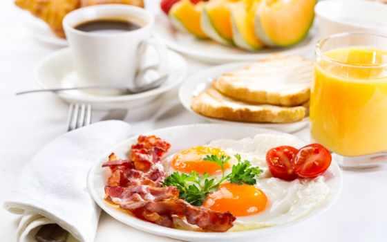 завтрак, coffee, juice, фрукты, яичница, круассаны, беконом, клипарт, еда,