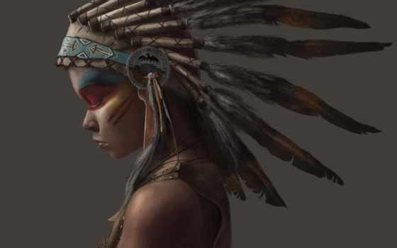индеец, перья, indian, девушка, стиль,
