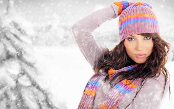 девушка, шапке, firestock, снег, красивая, шляпа, дек, стоковая, клипарт,