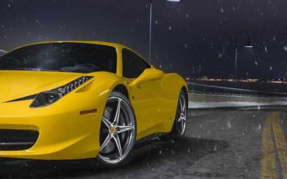 ferrari, машина, спортивная, желтая, снег, desktop, машины, под, стоит,