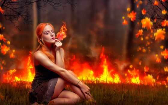 девушка, огонь, devushki, осень, лист, коллекция, лучшая,