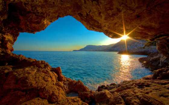 закат, море, камни, природа, моря, пещеры, берег, город, солнца, bike, взгляд,