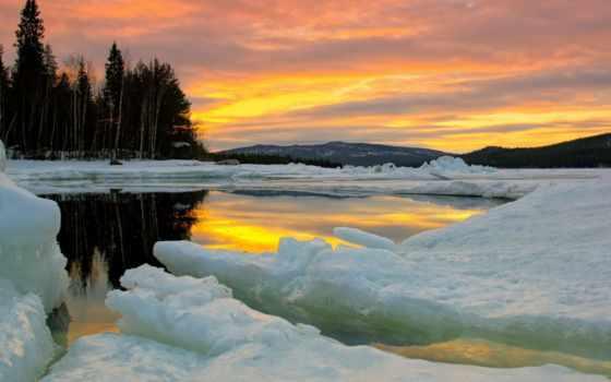 природа, лед, trees, winter, озеро, небо, lakes, frozen, ecran,
