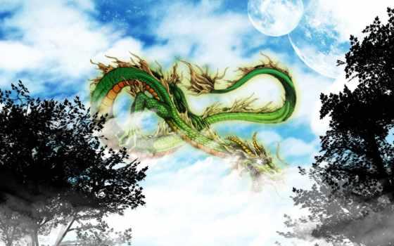 desktop, дракон, photoshop, фон, китаянка, china, взгляд,