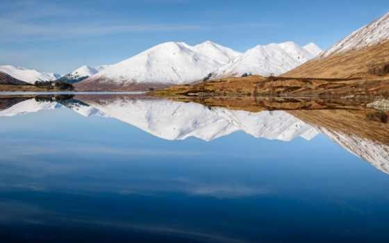 гора, шотландия, озеро, отражение, great, небо, scotia