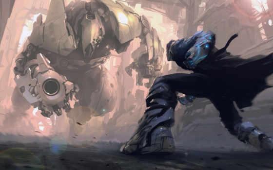 робот, стойка, бой, оружие, мужчина, арт, картинка, картинку, battle,