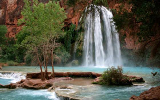 havasu, водопад, большого, каньона, сша, waters, является, жемчужиной, masterok, каньон, сквозь,