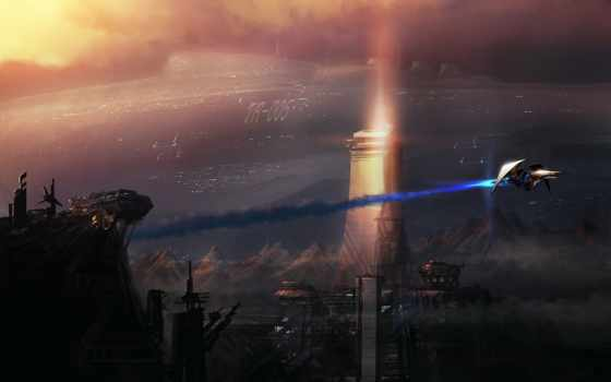 корабль, art, фантастика, cosmic, гигант, горы, корабли, oblaka, небе, со, огромный,