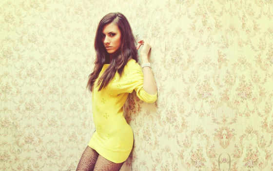 девушка, платье, стена, yellow, стене, eyes, devushki, david,