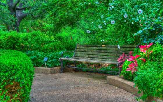 скамейка, park, garden, дорога, landscape, пейзажи -, картинка,