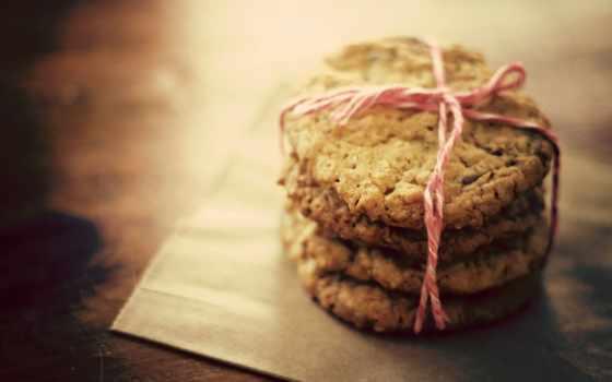 макро, разных, cookie, розовой, печенья, вкусное, овсяное, перевязанное,