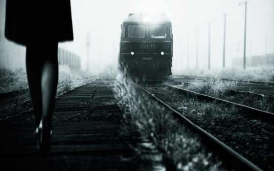 поезд, девушка, ретро