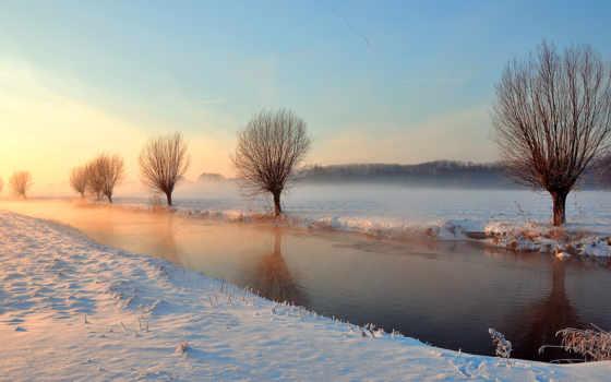 winter, река, деревья