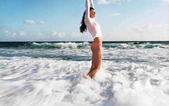 девушка, море, water
