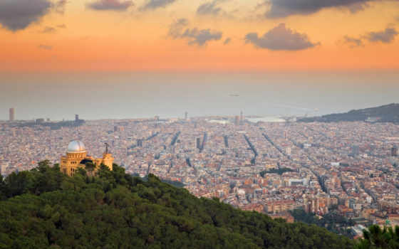 tibidabo, fabra, барселона, испания, observatory, июня, bing, blick, hills,