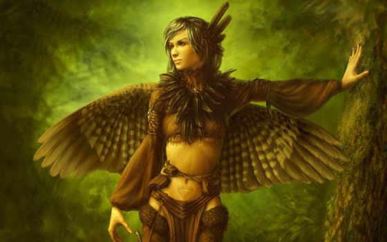 девушка, крылья, перья