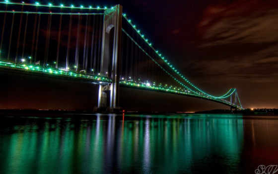 золотистый, gate, мост, ночь, города, ночного,