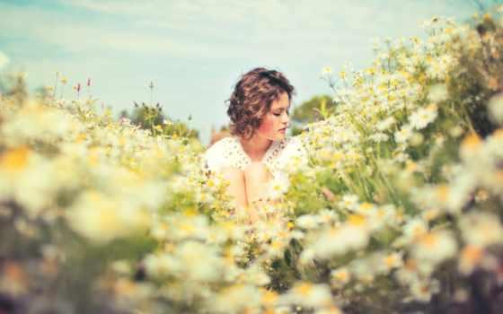 поле, девушка, summer, sun, настроение, ромашки,