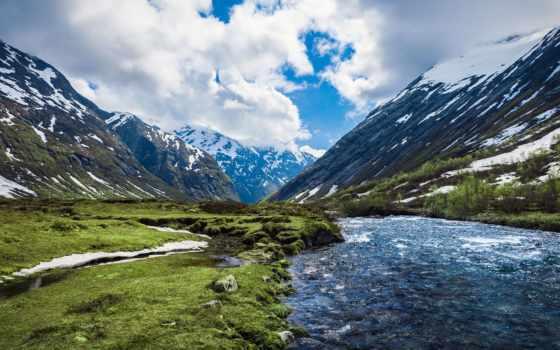 горы, река, природа, norwegian, норвегия, заставки, холмы, красивые,
