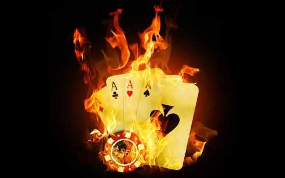 огонь, покер, казино, карты, тузы, пламя,