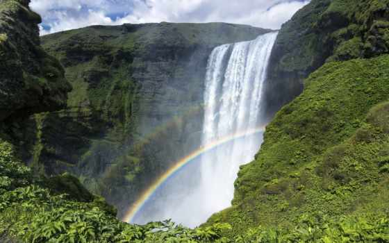 skogafoss, водопад, iceland, радуга, скоугафосс, скалы, iphone, водопады, oboi,