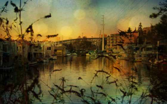 город, здания, дома, landscape, art, река, reservoir,