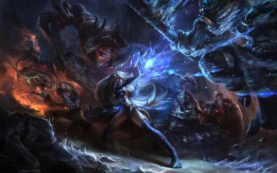 битва, fantasy, монстры, art, магия, фантазий, canvas, плакат, искусства, оружие,