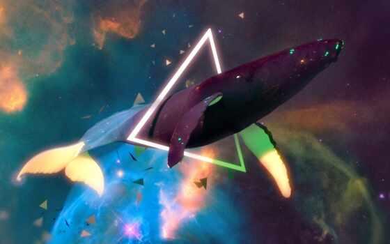 кит, космос, sun, треугольник, рисунок, art, fentezti, геометрия, fish